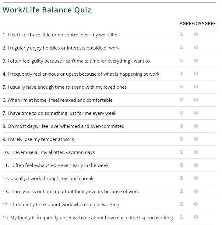 Work Life Balance Quiz Classic Lifecare